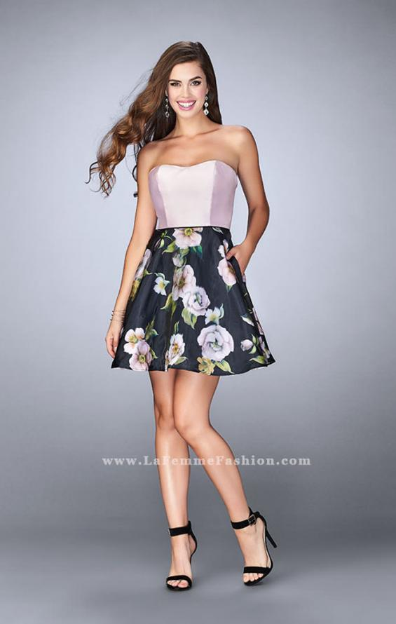 Picture of: Short Strapless Floral Dress with Open Back in Print, Style: 24506, Detail Picture 1