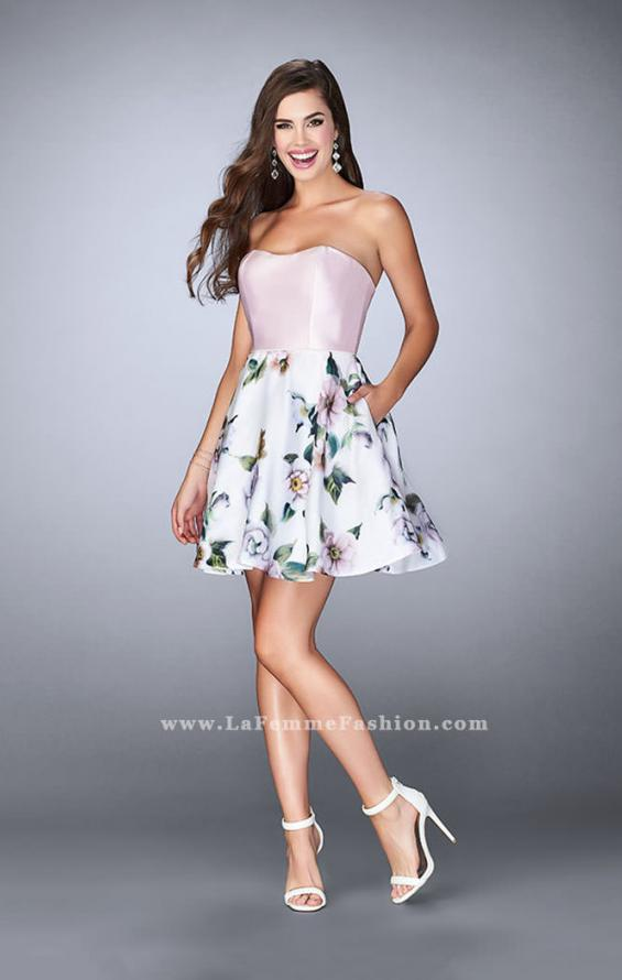 Picture of: Short Strapless Floral Dress with Open Back in Print, Style: 24506, Detail Picture 2