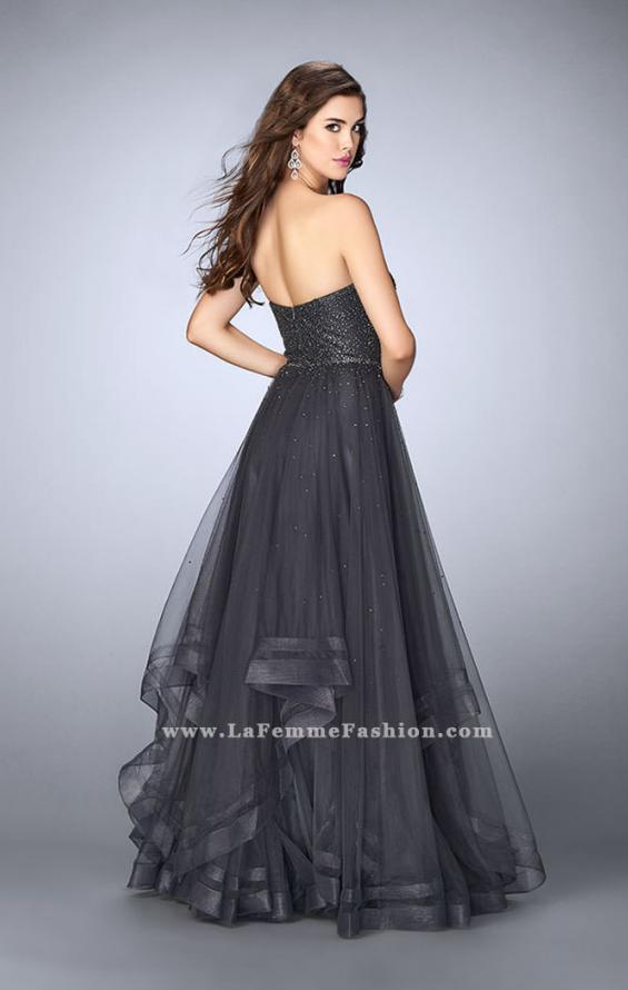 Picture of: Beaded A-line Prom Dress with a Tiered Tulle Skirt in Silver, Style: 24517, Back Picture