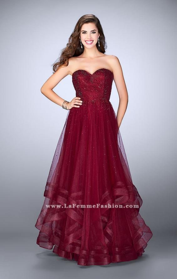 Picture of: Beaded A-line Prom Dress with a Tiered Tulle Skirt in Red, Style: 24517, Detail Picture 1