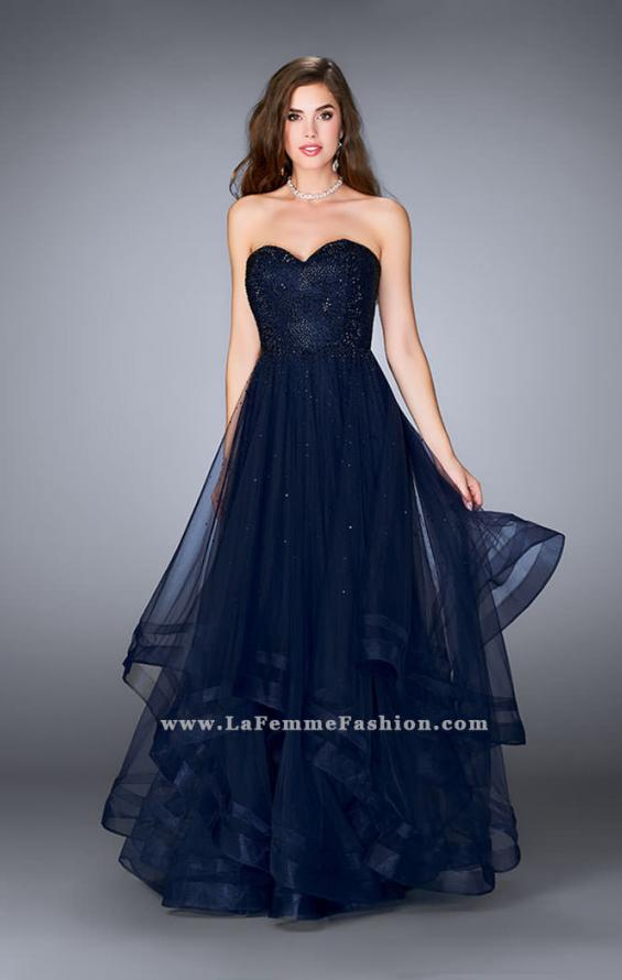 Picture of: Beaded A-line Prom Dress with a Tiered Tulle Skirt in Navy, Style: 24517, Detail Picture 2