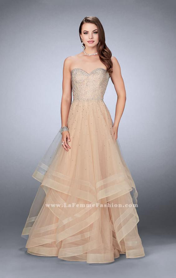 Picture of: Beaded A-line Prom Dress with a Tiered Tulle Skirt in Nude, Style: 24517, Detail Picture 3
