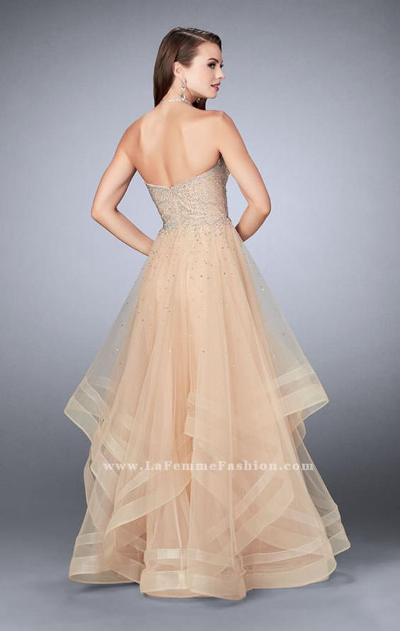 Picture of: Beaded A-line Prom Dress with a Tiered Tulle Skirt in Nude, Style: 24517, Detail Picture 4