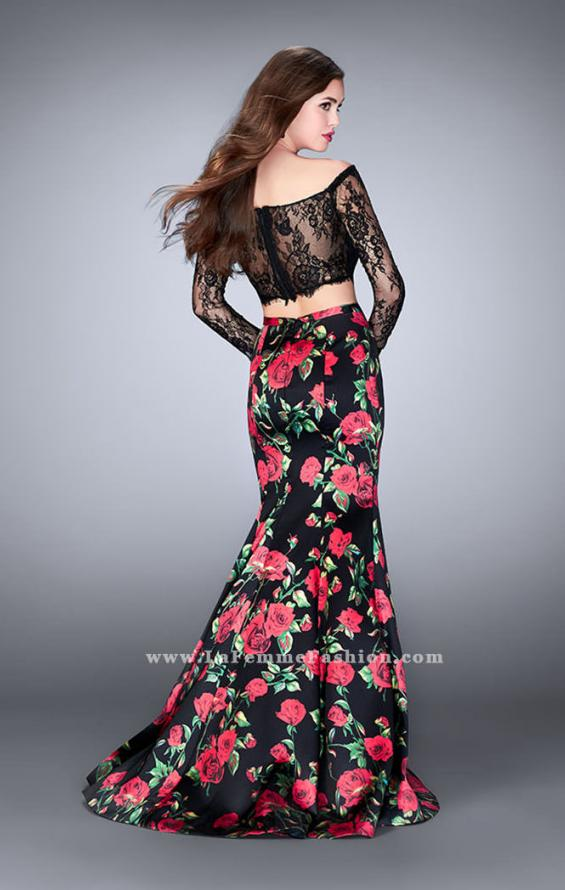 Picture of: Floral Long Sleeve Two Piece Mermaid Style Prom Dress, Style: 24522, Back Picture