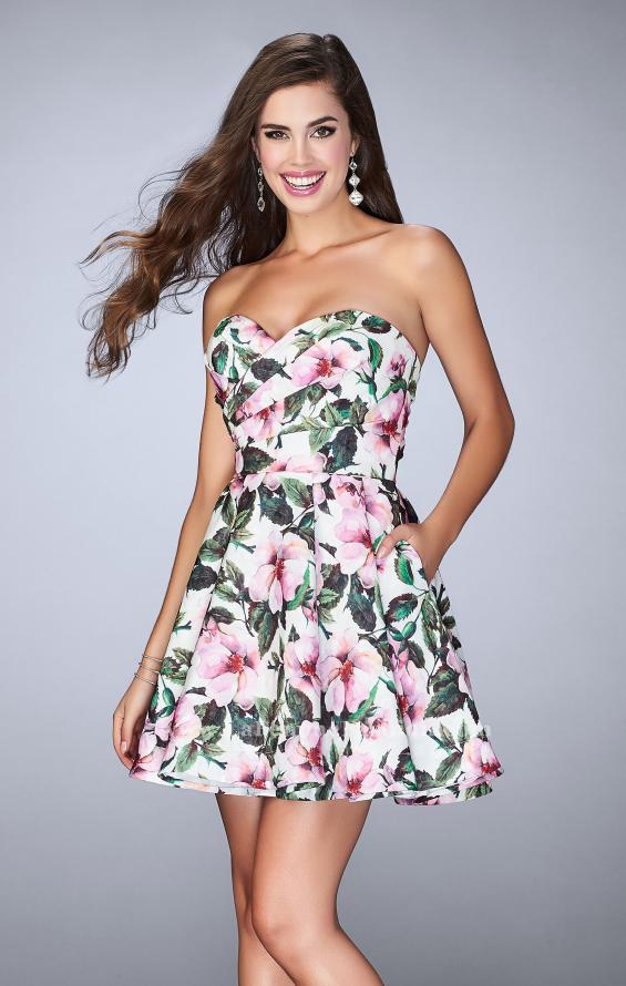 Picture of: Short Flared Floral Dress with a Gathered Bodice, Style: 24523, Main Picture