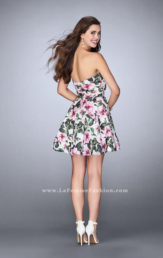 Picture of: Short Flared Floral Dress with a Gathered Bodice, Style: 24523, Back Picture