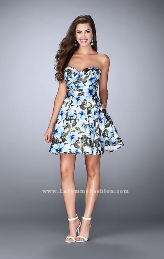 Picture of: Short Flared Floral Dress with a Gathered Bodice, Style: 24523, Detail Picture 1