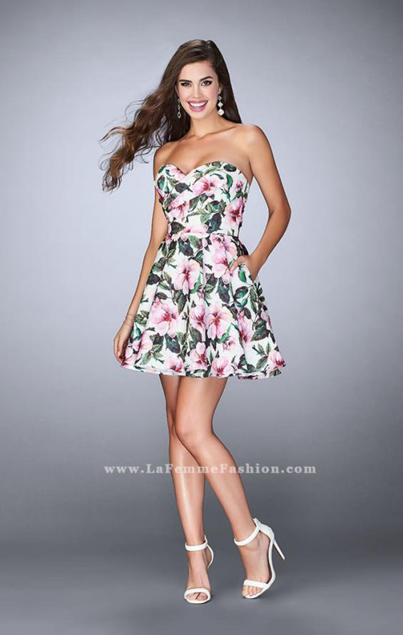Picture of: Short Flared Floral Dress with a Gathered Bodice, Style: 24523, Detail Picture 2