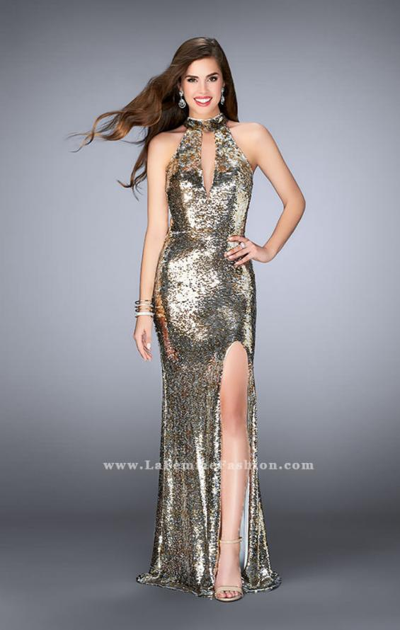 Picture of: High Neck Sequin Dress with a Keyhole and Open Back, Style: 24527, Main Picture