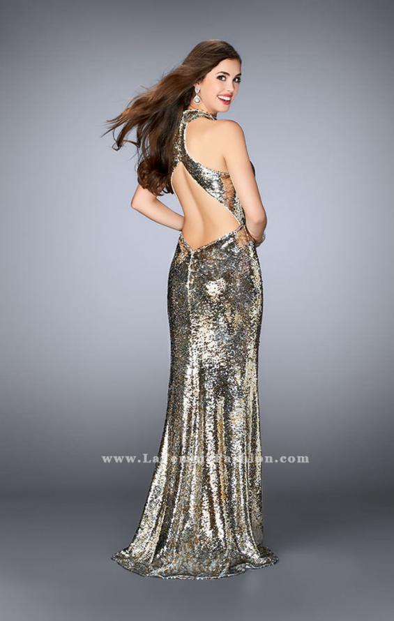 Picture of: High Neck Sequin Dress with a Keyhole and Open Back, Style: 24527, Back Picture