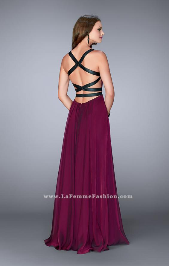 Picture of: Chiffon A-line Prom Dress with Vegan Leather Straps, Style: 24536, Back Picture