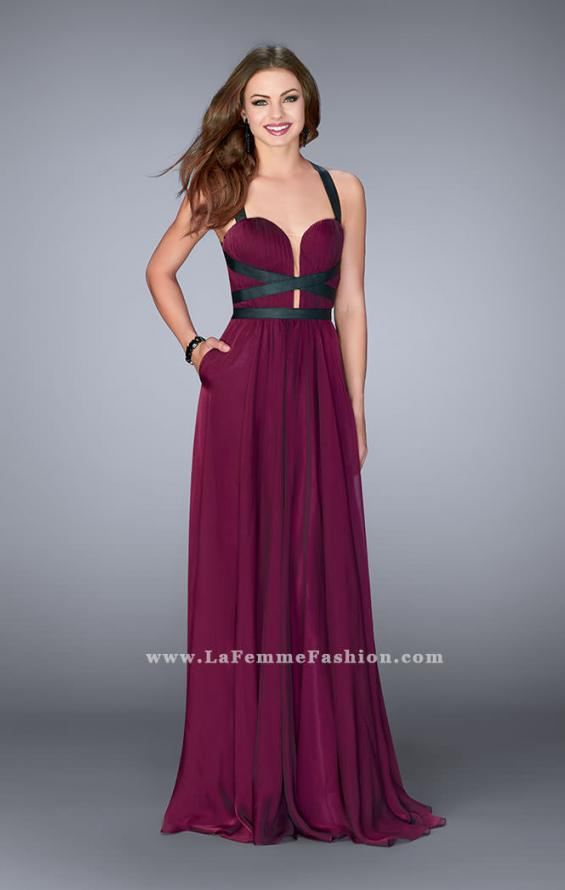 Picture of: Chiffon A-line Prom Dress with Vegan Leather Straps, Style: 24536, Detail Picture 1