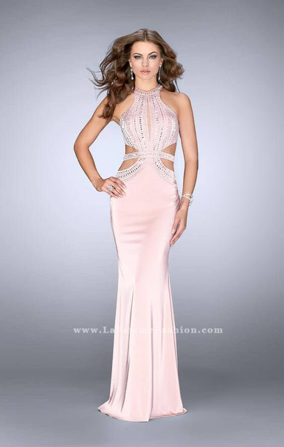 Picture of: High Neck Jersey Dress with Beaded Top and Cut Outs, Style: 24554, Detail Picture 2