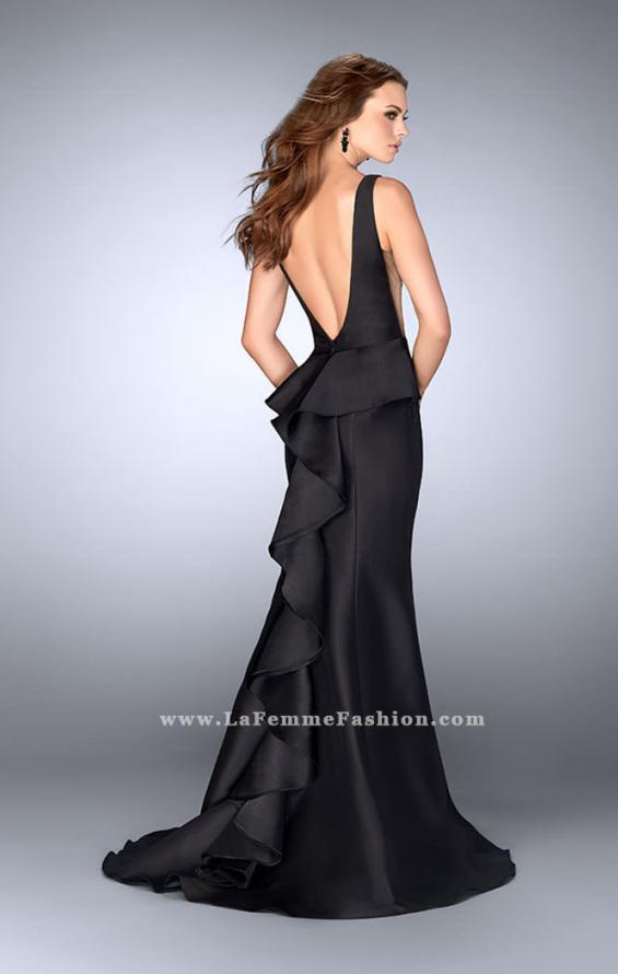 Picture of: Mermaid Prom Dress with Deep V Neckline and Ruffles in Black, Style: 24555, Main Picture
