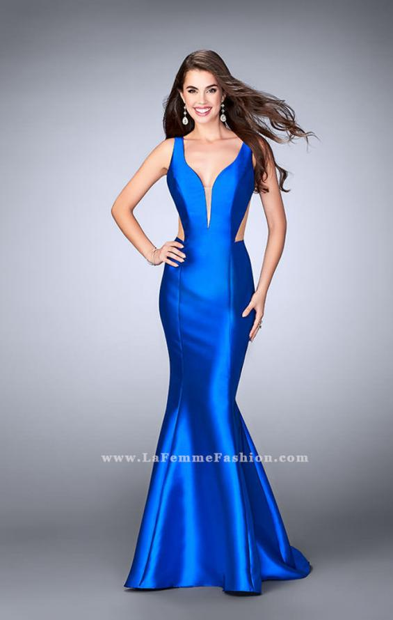 Picture of: Mermaid Prom Dress with Deep V Neckline and Ruffles in Blue, Style: 24555, Detail Picture 2