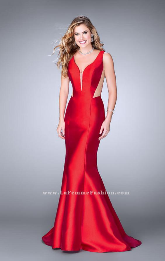 Picture of: Mermaid Prom Dress with Deep V Neckline and Ruffles in Red, Style: 24555, Detail Picture 3