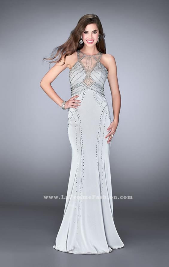 Picture of: Long Beaded Prom Dress with High Illusion Neckline, Style: 24557, Main Picture