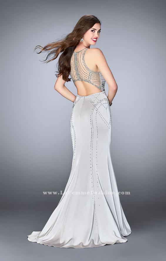 Picture of: Long Beaded Prom Dress with High Illusion Neckline, Style: 24557, Back Picture
