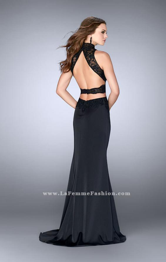 Picture of: High Neck Dress with Sheer Beaded Top and Belt in Black, Style: 24558, Back Picture
