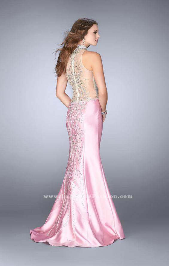 Picture of: Beaded Prom Gown with Mermaid Skirt and Beading in Pink, Style: 24562, Back Picture