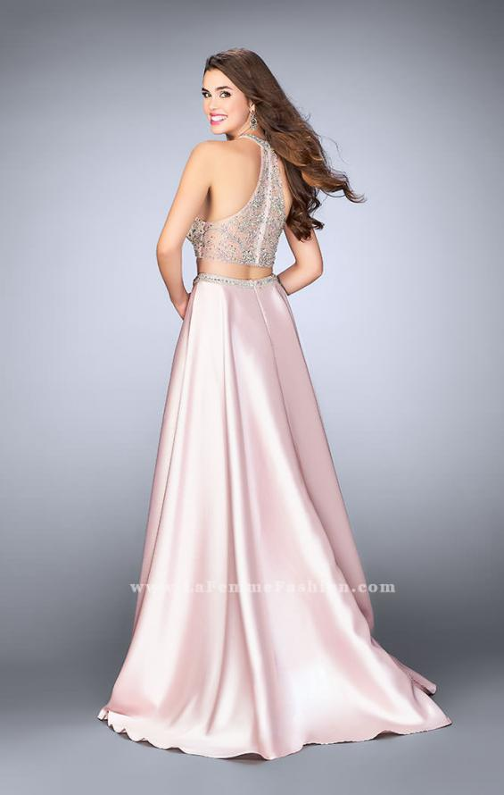 Picture of: Two Piece A-line Prom Gown with Full Satin Skirt in Pink, Style: 24563, Back Picture