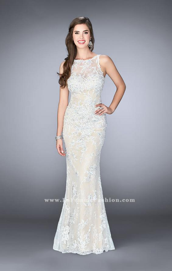Picture of: Flare Lace Prom Dress with High Neck and Low Back in White, Style: 24565, Main Picture
