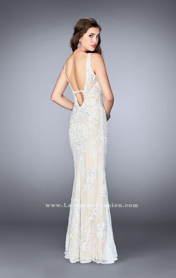 Picture of: Flare Lace Prom Dress with High Neck and Low Back in White, Style: 24565, Back Picture