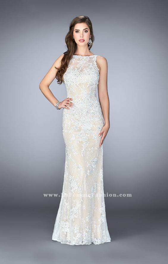 Picture of: Flare Lace Prom Dress with High Neck and Low Back in White, Style: 24565, Detail Picture 1