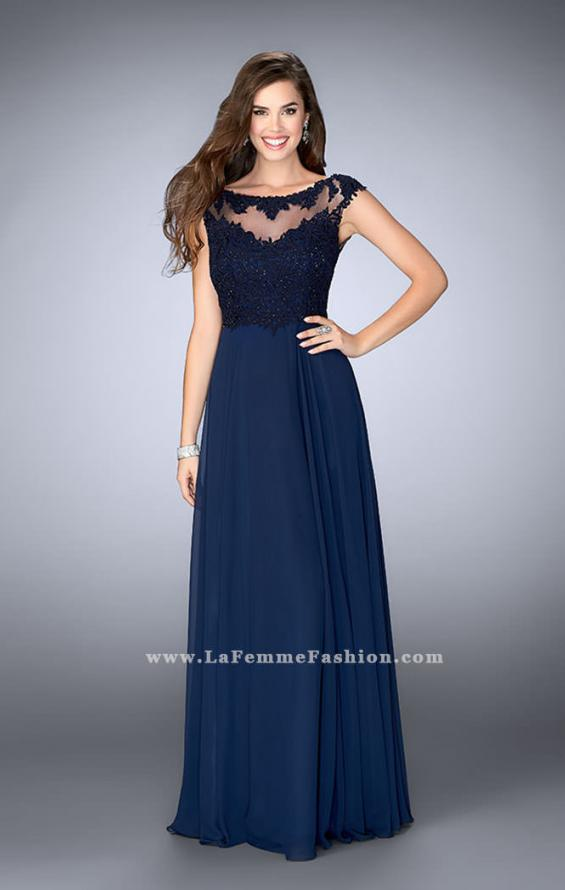 Picture of: A-line Chiffon Prom Dress with Illusion Lace Top, Style: 24572, Main Picture