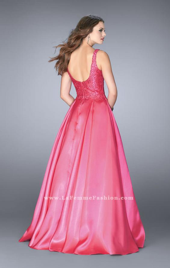 Picture of: Full A-line Mikado Gown with Beaded Deep V Neckline, Style: 24577, Back Picture