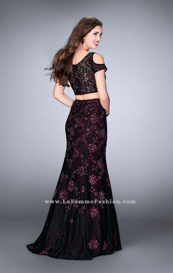 Picture of: Two Piece Cold Shoulder Lace Dress with Beading in Red, Style: 24583, Back Picture