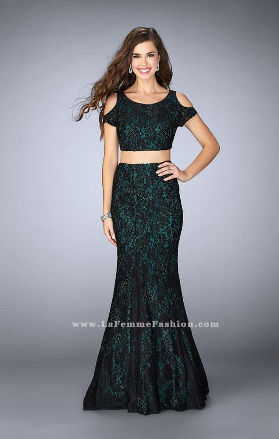 Picture of: Two Piece Cold Shoulder Lace Dress with Beading in Green, Style: 24583, Detail Picture 1
