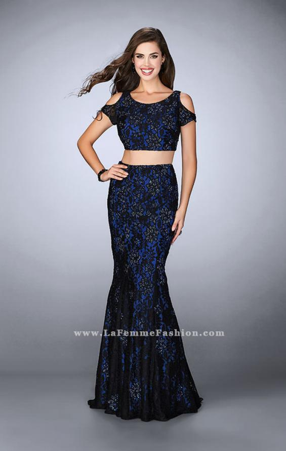 Picture of: Two Piece Cold Shoulder Lace Dress with Beading in Blue, Style: 24583, Detail Picture 2