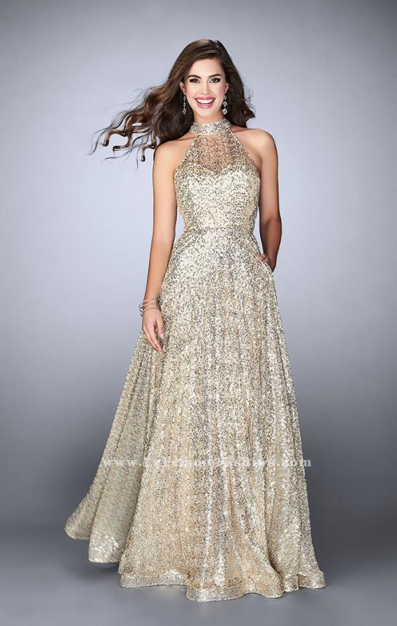 Picture of: Sequin A-line Gown with High Neck and Key Hole Back in Gold, Style: 24584, Main Picture