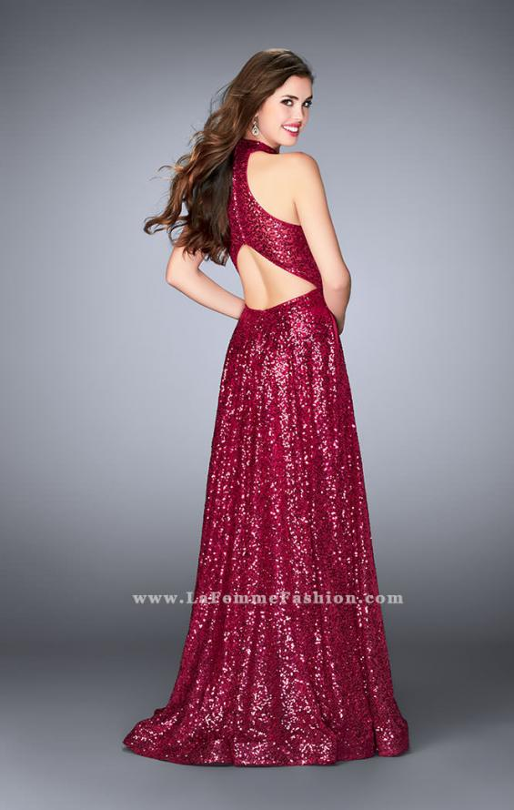 Picture of: Sequin A-line Gown with High Neck and Key Hole Back in Pink, Style: 24584, Back Picture