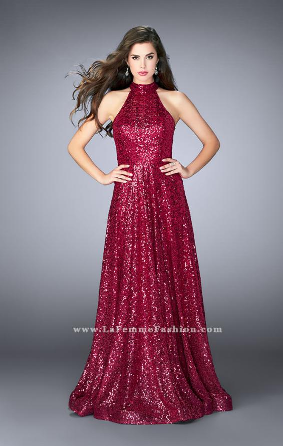 Picture of: Sequin A-line Gown with High Neck and Key Hole Back in Pink, Style: 24584, Detail Picture 1