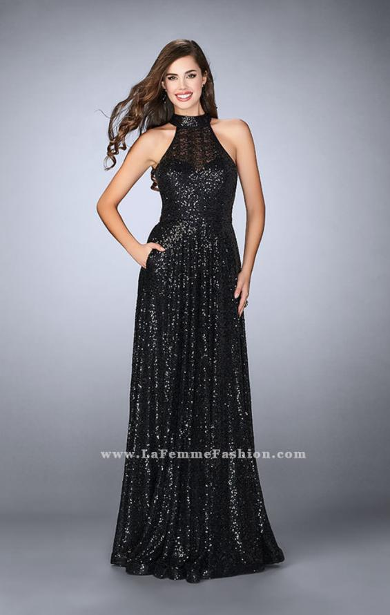 Picture of: Sequin A-line Gown with High Neck and Key Hole Back in Black, Style: 24584, Detail Picture 2
