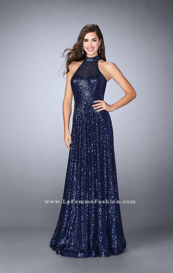 Picture of: Sequin A-line Gown with High Neck and Key Hole Back in Blue, Style: 24584, Detail Picture 3