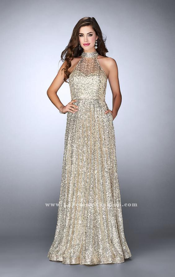 Picture of: Sequin A-line Gown with High Neck and Key Hole Back in Gold, Style: 24584, Detail Picture 4