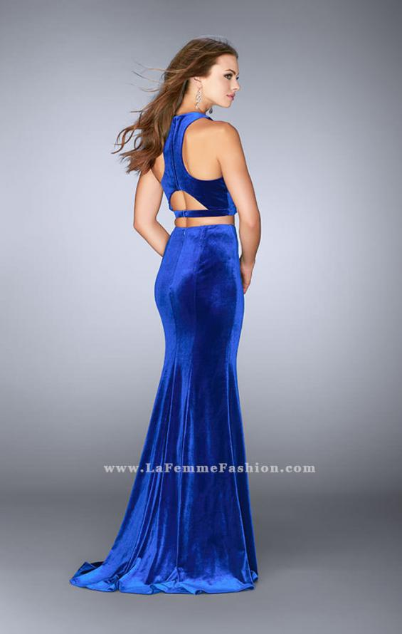 Picture of: Two Piece Velvet Dress with Key Hole Cut Out Back in Blue, Style: 24599, Back Picture