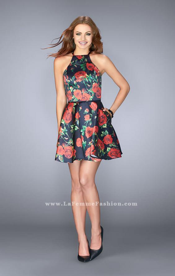 Picture of: Short Floral Mikado Dress with Strappy Back in Print, Style: 24620, Detail Picture 1
