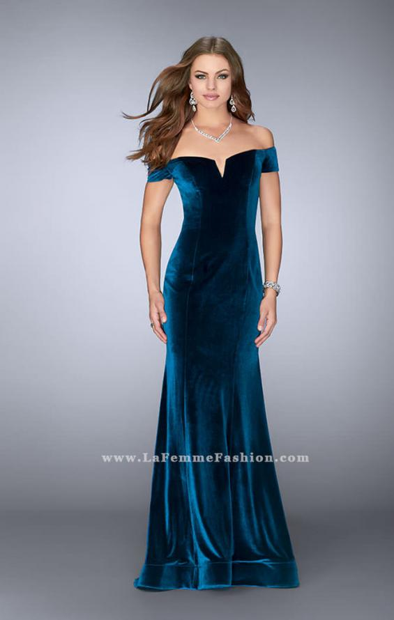 Picture of: Off the Shoulder Velvet Dress with Small V Neckline, Style: 24626, Main Picture