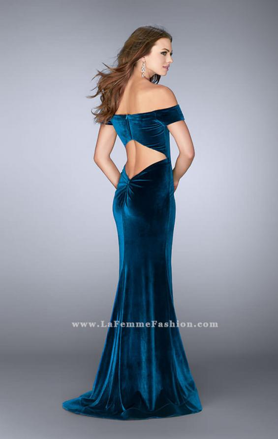 Picture of: Off the Shoulder Velvet Dress with Small V Neckline, Style: 24626, Back Picture