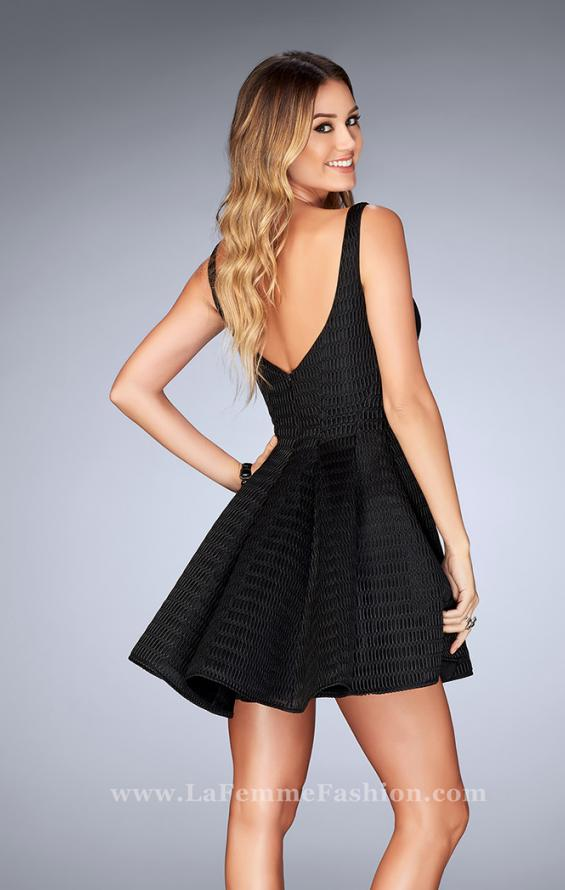 Picture of: Textured Neoprene Dress With Pleated Skirt, Style: 24628, Back Picture