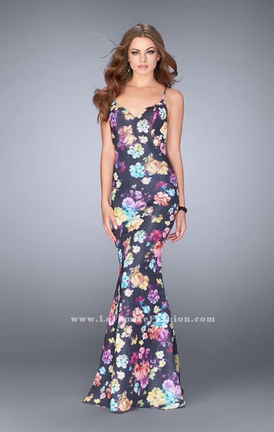 Picture of: Open Back Print Neoprene Dress with Train, Style: 24632, Main Picture