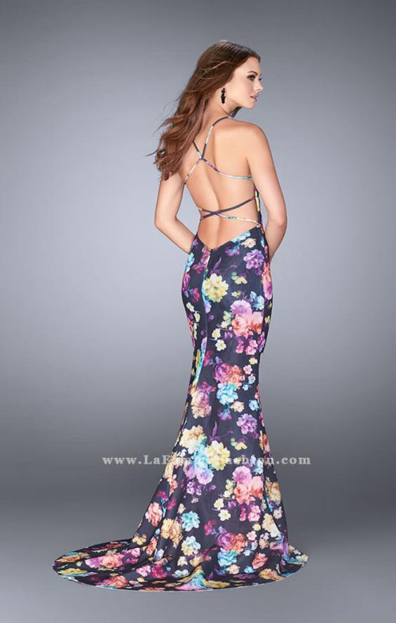 Picture of: Open Back Print Neoprene Dress with Train, Style: 24632, Back Picture