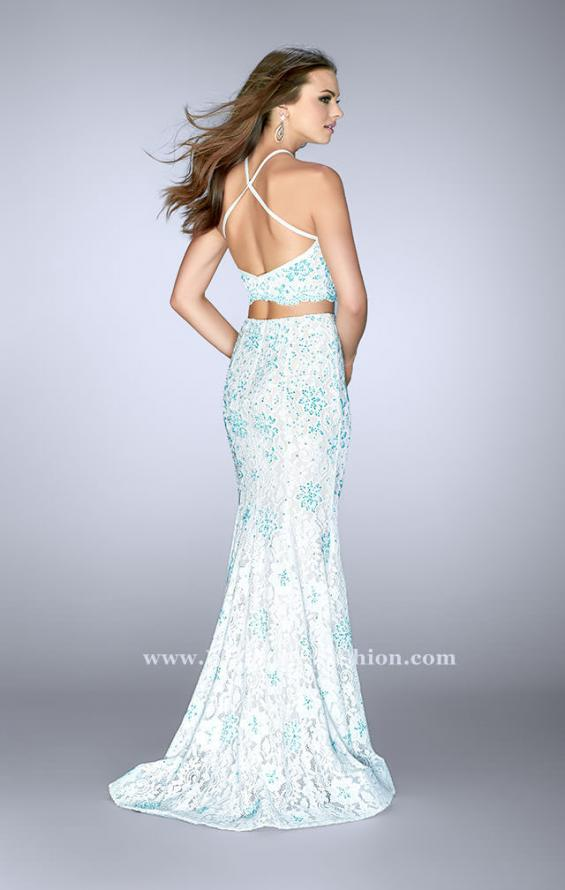 Picture of: High Neck Two Piece Dress with Colored Beading in Blue, Style: 24637, Back Picture