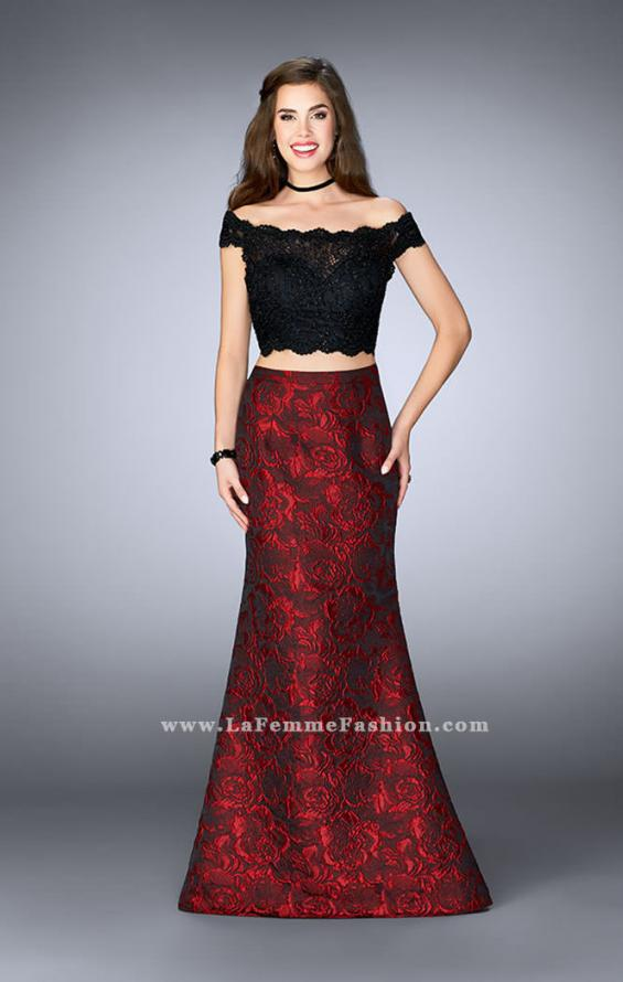 Picture of: Two Piece Prom Dress with Jacquard Flare Skirt in Red, Style: 24646, Main Picture