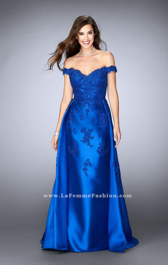Picture of: Off the Shoulder Prom Gown with Mikado Skirt and Cape in Blue, Style: 24647, Main Picture