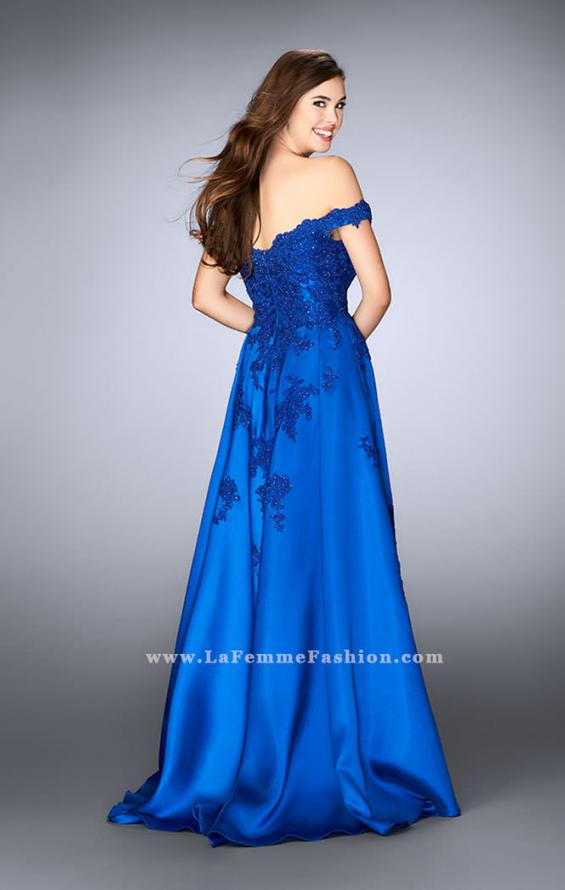 Picture of: Off the Shoulder Prom Gown with Mikado Skirt and Cape in Blue, Style: 24647, Back Picture